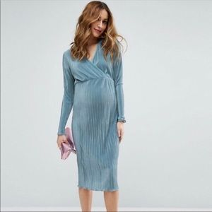 ASOS Maternity Pleated Baby Blue Dress SZ 10